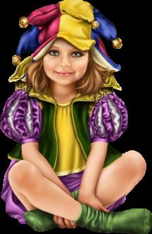 Фото Милая голубоглазая девочка в костюме шута