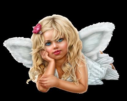 Фото Милая голубоглазая девочка-ангел с цветком в волосах