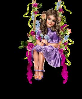 Фото Милая девочка катается на качелях с цветами в волосах