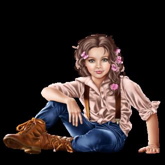 Фото Милая голубоглазая девочка с косичками украшенными цветами
