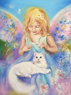Фото Девочка с крылышками с котенком на фоне бабочек, художница Аннет Логинова
