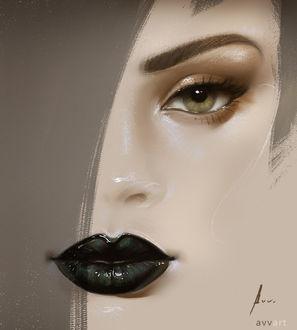 Фото Портрет девушки с черной помадой на губах, by Aleksei Vinogradov