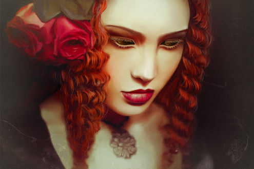 Фото Рыжеволосая девушка с опущенными глазами, by LoranDeSore