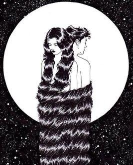 Фото Парень с девушкой сплетены волосами, они стоят на фоне полной луны, иллюстратор Sivan Karim