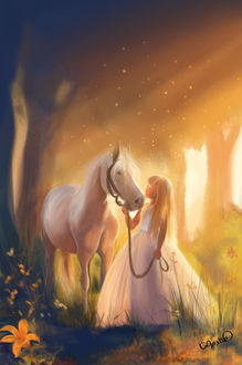 Фото Девочка с лошадью стоят у дерева, by Hanaa Medhat