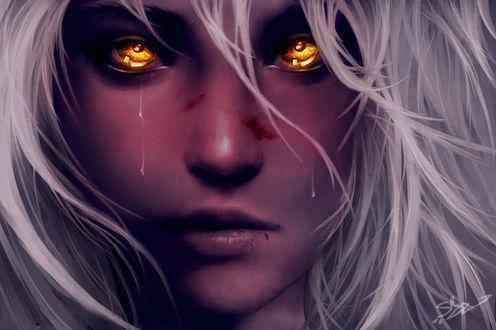 Фото Белокурая девушка с янтарными глазами со слезами, by xX-Lone-Wolf-Xx