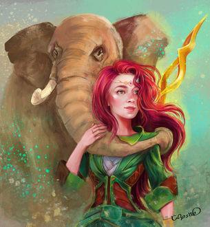 Фото Девушку хоботом обнял слон, by Hanaa Medhat