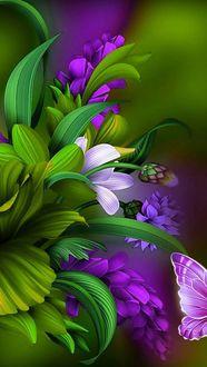Фото Яркие цветы и половина бабочки на размытом фоне