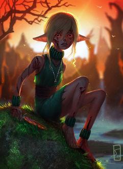 Фото Раненная девочка - эльфийка сидит на утесе, сжимая в руке нож, by sagasketchbook