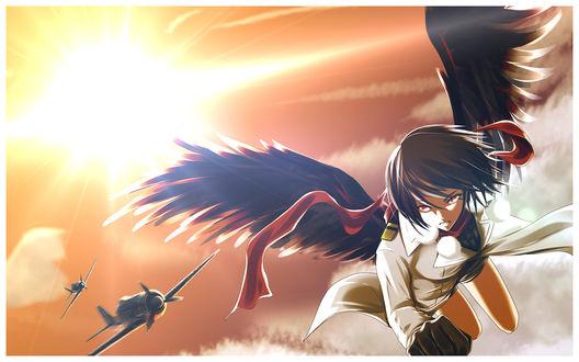 Фото Aya Shameimaru / Ая Шамеймару с черными крыльями летит в небе, ее преследуют два истребителя, из игры Tohou Project / Проект Восток, art by Growingnoob
