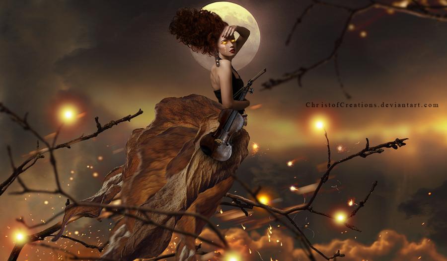 Фото Девушка - осень со скрипкой в руке, by ChristofCreations