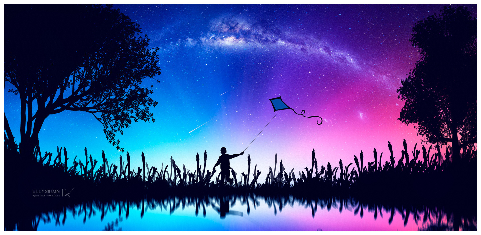 Фото Мальчик с воздушным змеем на фоне розово-голубого неба, by Gene Raz von Edler