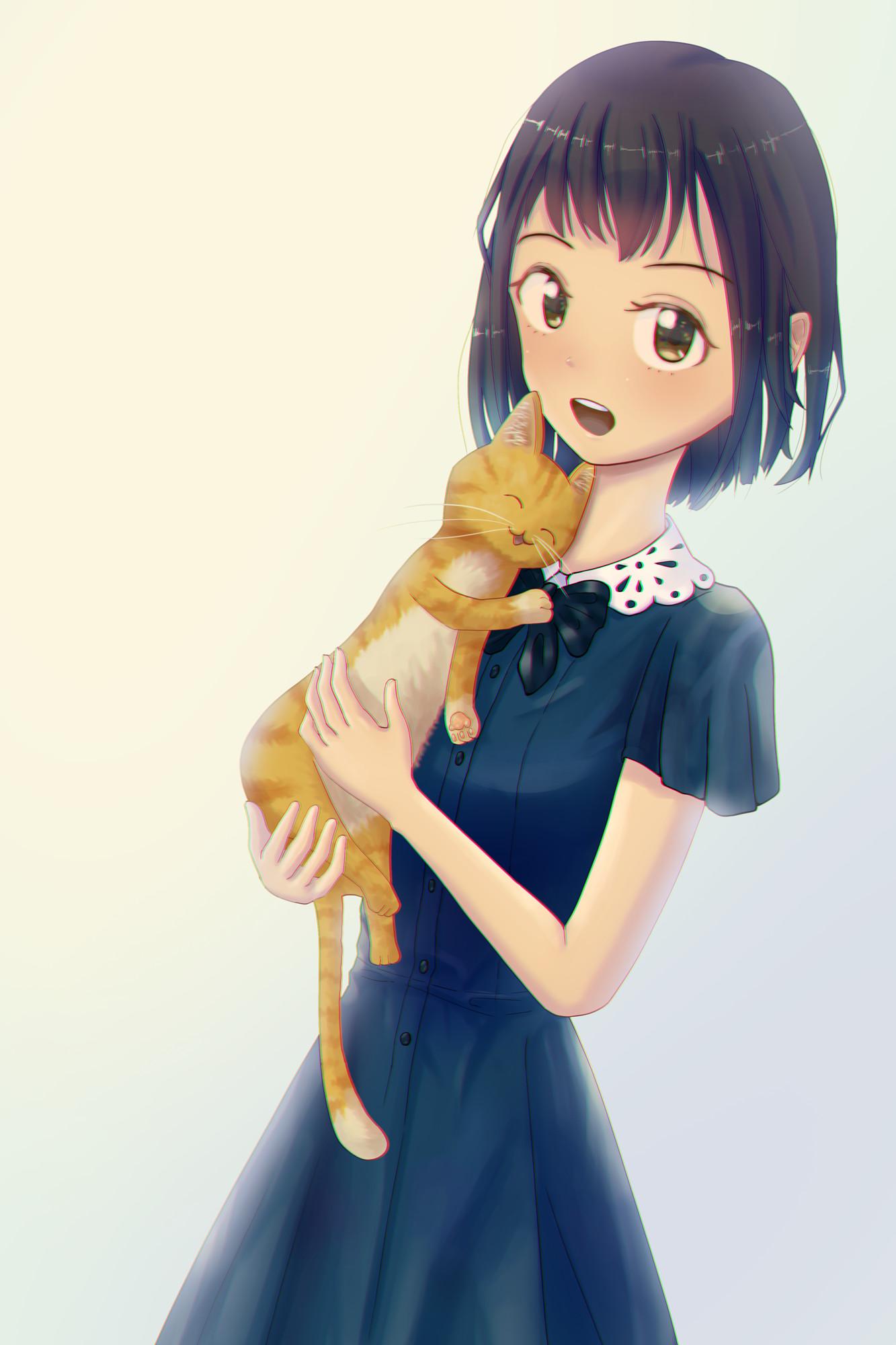 Фото Девочка с кошкой на руках, by Yuichi Ito