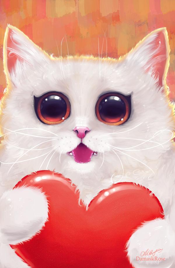 Милые картинки котик с сердечком этой
