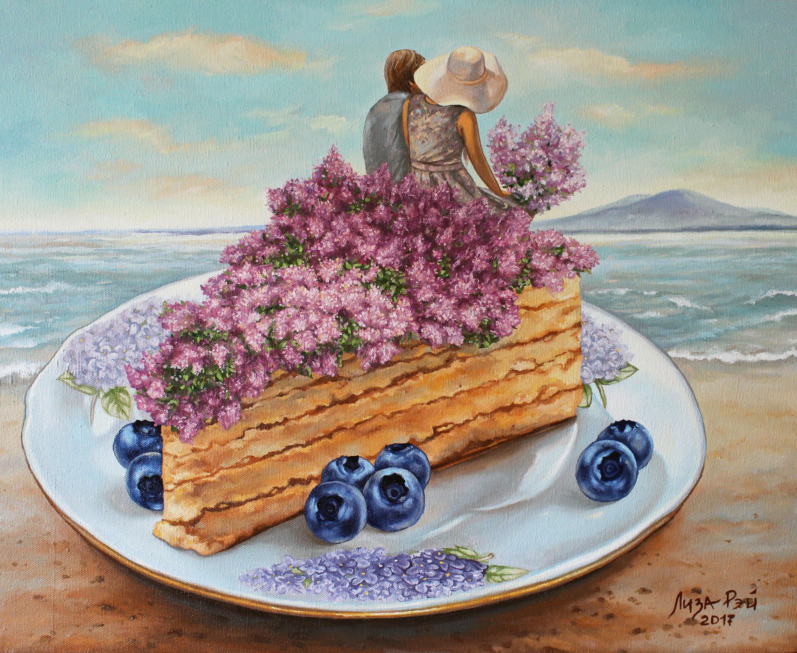 Фото Парень и девушка с букетом сирени смотрят на море сидя на кусочке торта, лежащем на тарелке среди ягод черники, художница Лиза Рэй