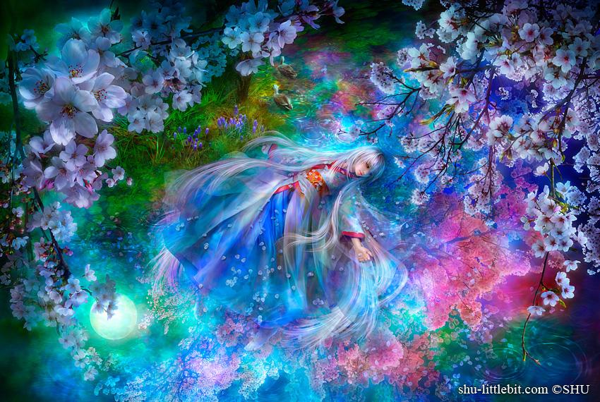 Фото Полет во сне девушки Айсы в цветущем саду, художник Shu Mizoguchi