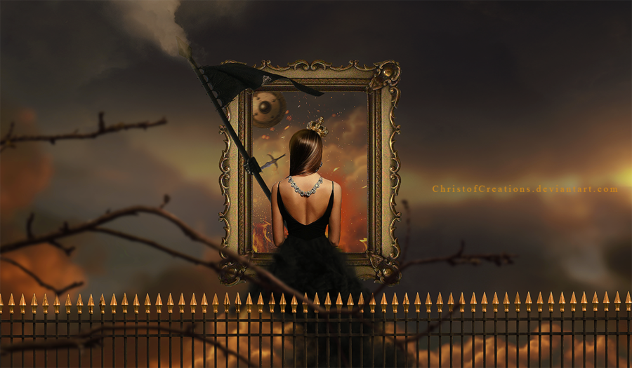Фото Девушка сидит перед рамкой для картины, by christofcreations