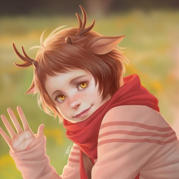 Фото Рыжеволосая девушка с оленьими рожками на размытом фоне, by TheKucing