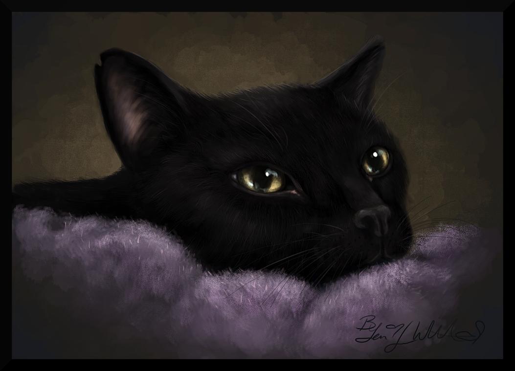 Фото Черная кошка с янтарными глазами, by pyro-helfier