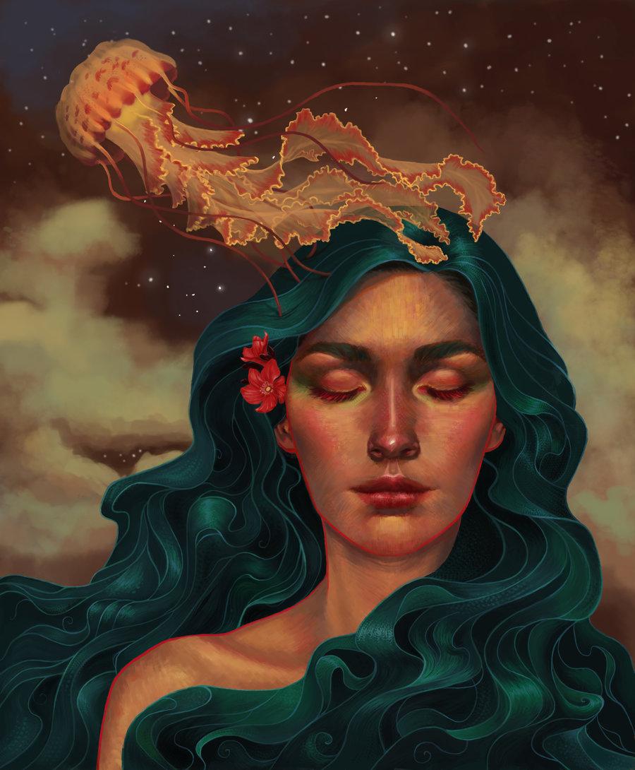 Фото Девушка с изумрудными волосами и закрытыми глазами, с медузой над ней, by DanielaIvanova
