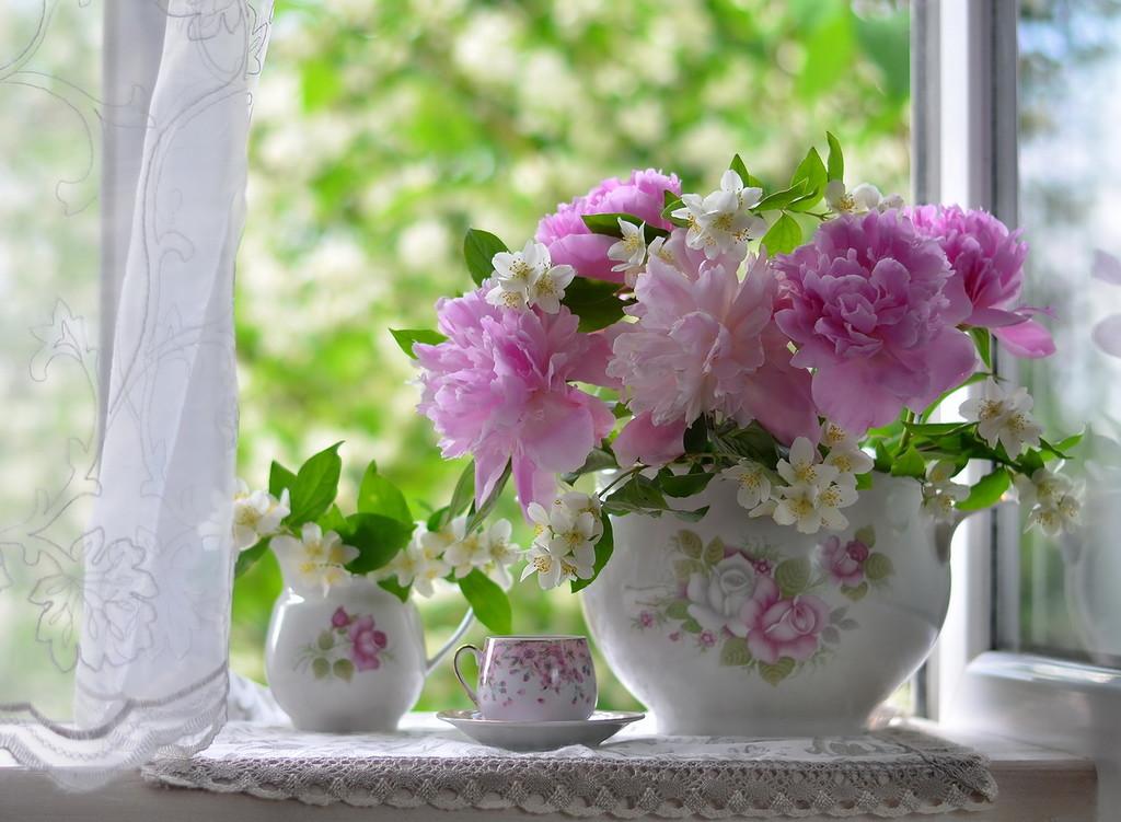 Букет пионов и цветы жасмина на окне