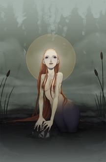 Фото Русалка с пустыми глазами и сиянием над головой держит чью-то голову в воде