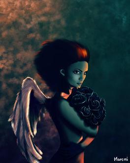 Фото Девушка-ангел с букетом черных роз, by MaromiSagi