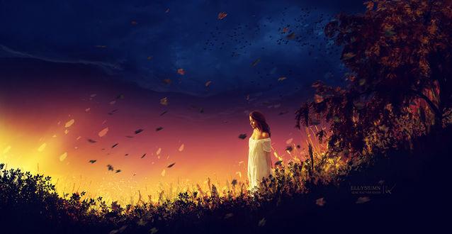 Фото Девушка в белом платье стоит на фоне зарева на закате, by Ellysiumn Art