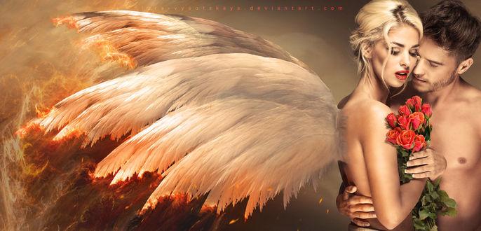 Фото Парень обнимает девушку -ангела, арт by Lora-Vysotskaya