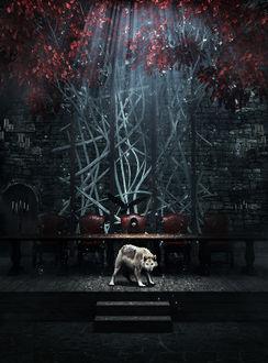 Фото Bran Stark / Бран Старк сидит за большим столом в замке Винтерфелла / Winterfell из сериала Game Of Trones / Игра Престолов, by CGMonkeyKing