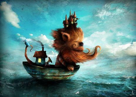 Фото Бородатое страшилище плывет на утлом суденышке по морю