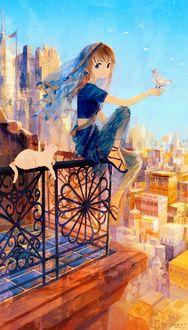 Фото Девочка с птичкой на руке сидит на ограде балкона и рядом с ней белая кошка