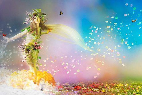 Фото Девушка-весна на фоне летающих бабочек и листьев