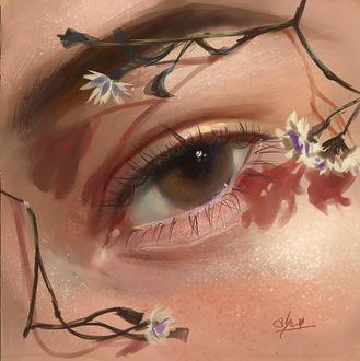 Фото Мечтательный глаз с цветочками на лице девушки, by abeer malik