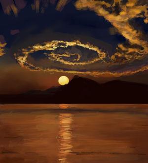 Фото Удивительный закат над горами и водой, by Abilio Antonio Geremias