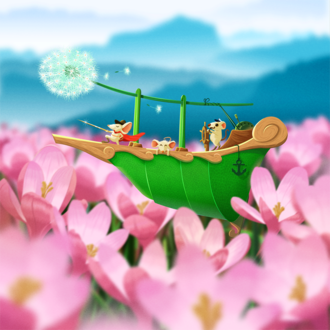 Фото Мышки на корабле среди весенних цветов, by Estince Voi