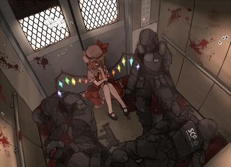 Фото Flandre Scarlet / Фландре Скарлет сидит в лифте среди убитых спецназовцев из игры Touhou, art by Xiao Qiang