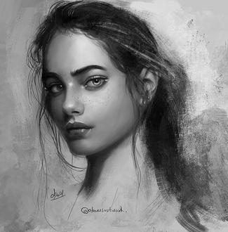 Фото Черно-белый портрет девушки, , by abeer malik