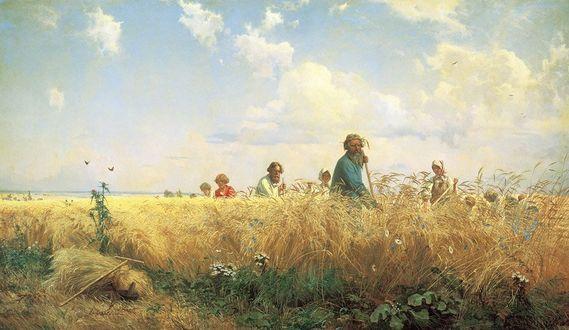 Фото Картина Страдная пора, художник Григорий Мясоедов