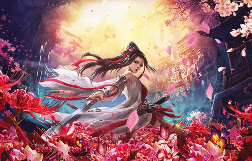 Фото Девушка с мечом окружена весенним цветением, by BriGht-liGht-NSH on DeviantArt