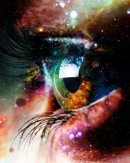 Фото Глаз девушки с изображением космоса, фотограф Sergey Muzlov