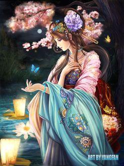 Фото Гейша смотрит на бабочку над рукой, арт by Yangfan