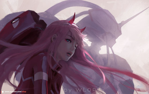 Фото Zero Two / Зеро Ту из аниме Darling in the FranXX / Милый во Франкcе, by wlop