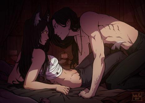 Фото Вампир обнимает на кровати девушку с ушками и хвостом, by Kate Fox
