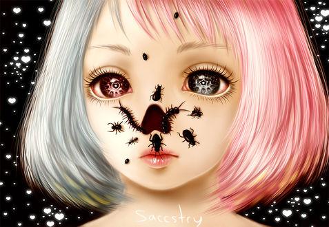 Фото Девушка с розово-белокурыми волосами и разноцветными глазами с жуками на лице на черном фоне с сердечками, by Saccstry