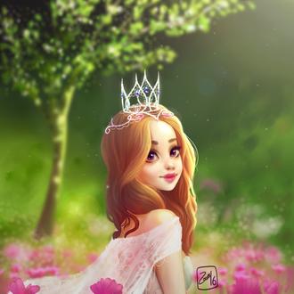 Фото Рыжеволосая девушка в платье и с короной среди розовых цветов на фоне природы, by Zow3y