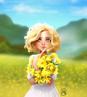 Фото Светловолосая девушка в белом платье стоит среди цветов и держит в руках желтые цветы, by Zow3y