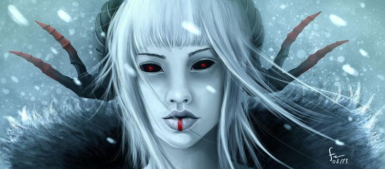 Фото Белокурая девушка с рожками и красными глазами под снегопадом, by we-like-you