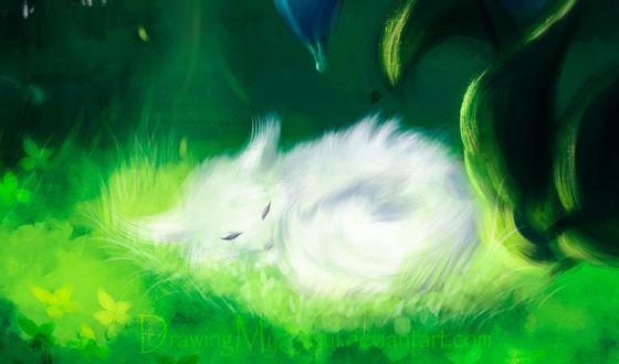 Фото Спящая белая лиса, by Drawing My Soul