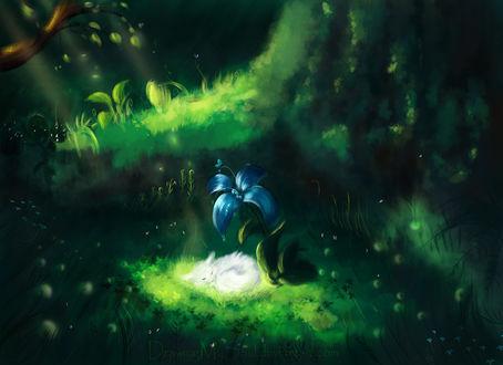 Фото Спящая белая лиса под голубым цветком, by Drawing My Soul